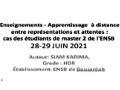 Conférence en ligne, animée par: Karima Siam (ENSB-Alger), atelier2, auditorium.
